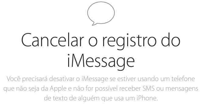 Descadastrar iMessage