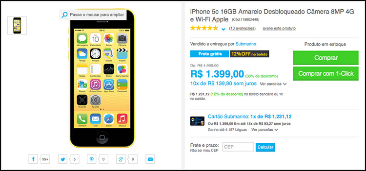 Photo of Oferta relâmpago: iPhone 5c por R$999, por tempo limitado