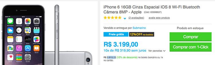 iPhone 6 preço antigo
