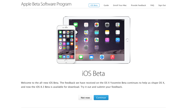 Programa iOS Beta