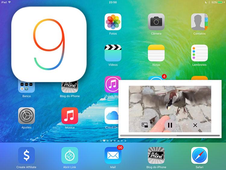 Demonstração do picture-in-picture no iPad com iOS 9