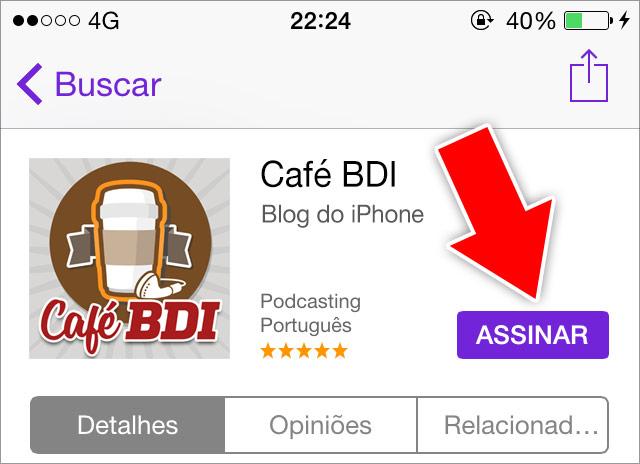 Assinando o Café BDI - Passo 02