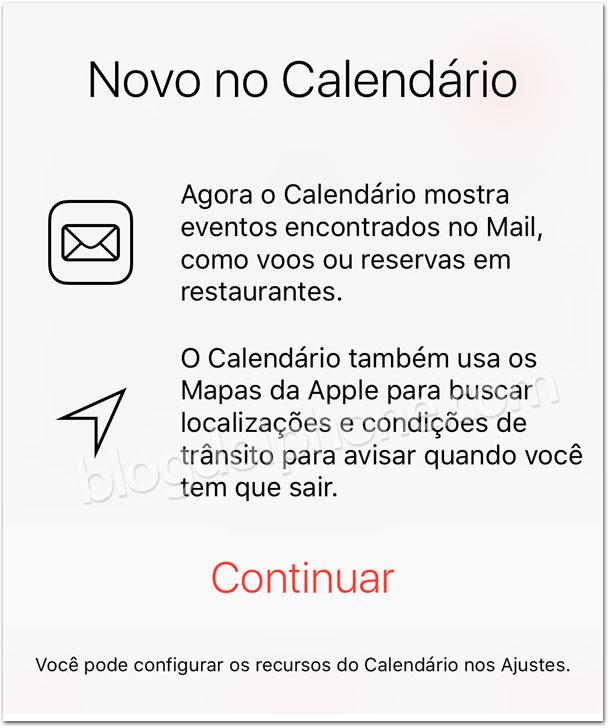 iOS 9 Calendário