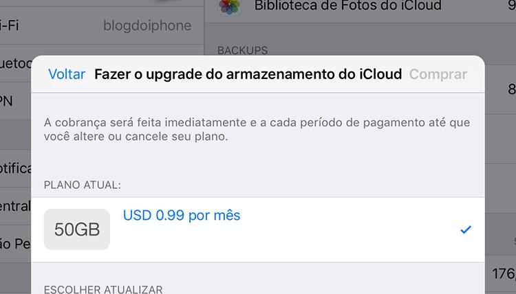 iCloud preços