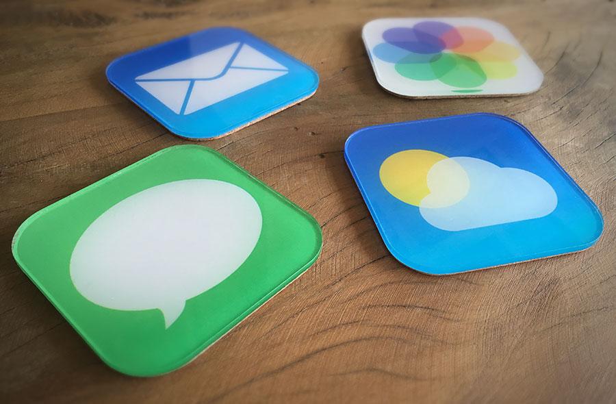 Porta-copos com ícones do iOS