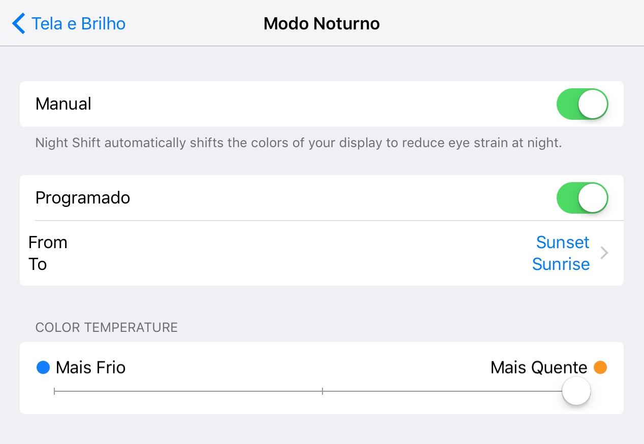 iOS 9.3 - Modo Noturno
