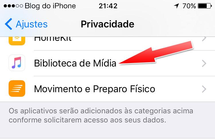 Biblioteca de Mídia iOS 9.3