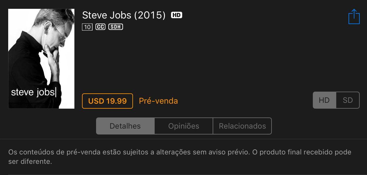 Photo of Filme Steve Jobs em pré-venda na iTunes Store brasileira