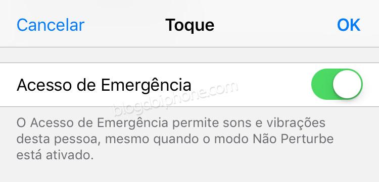iOS 10 Acesso de Emergência