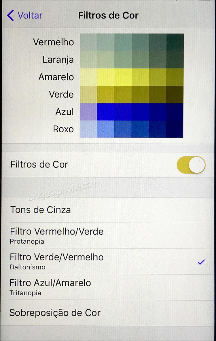 iOS 10 Filtros de cor