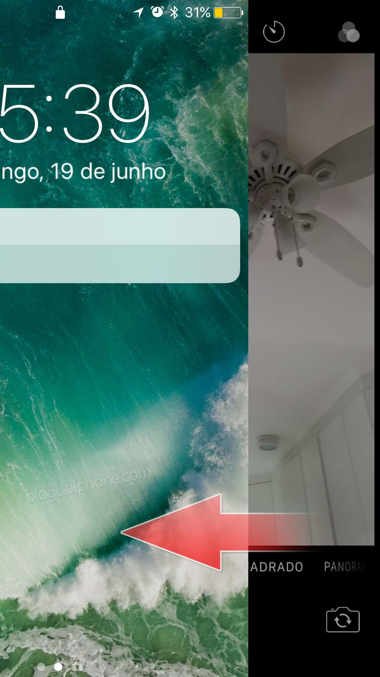 iOS 10 Câmera atalho