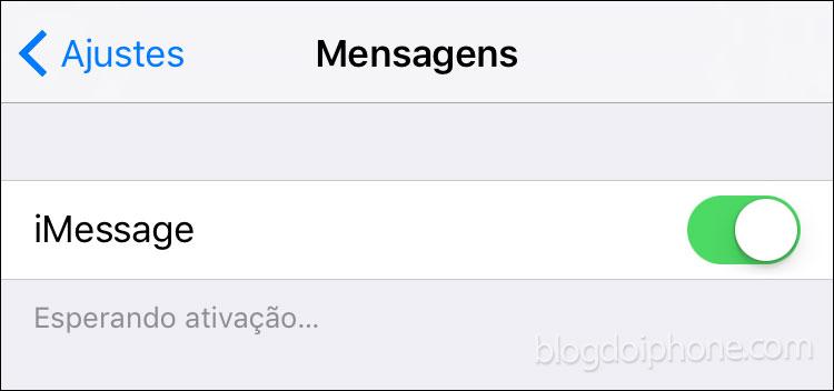 Falha ativação iMessage