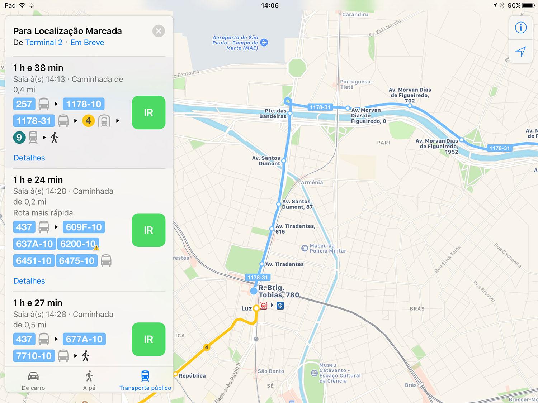 Photo of Apple Mapas agora inclui rotas de transporte público na cidade de São Paulo