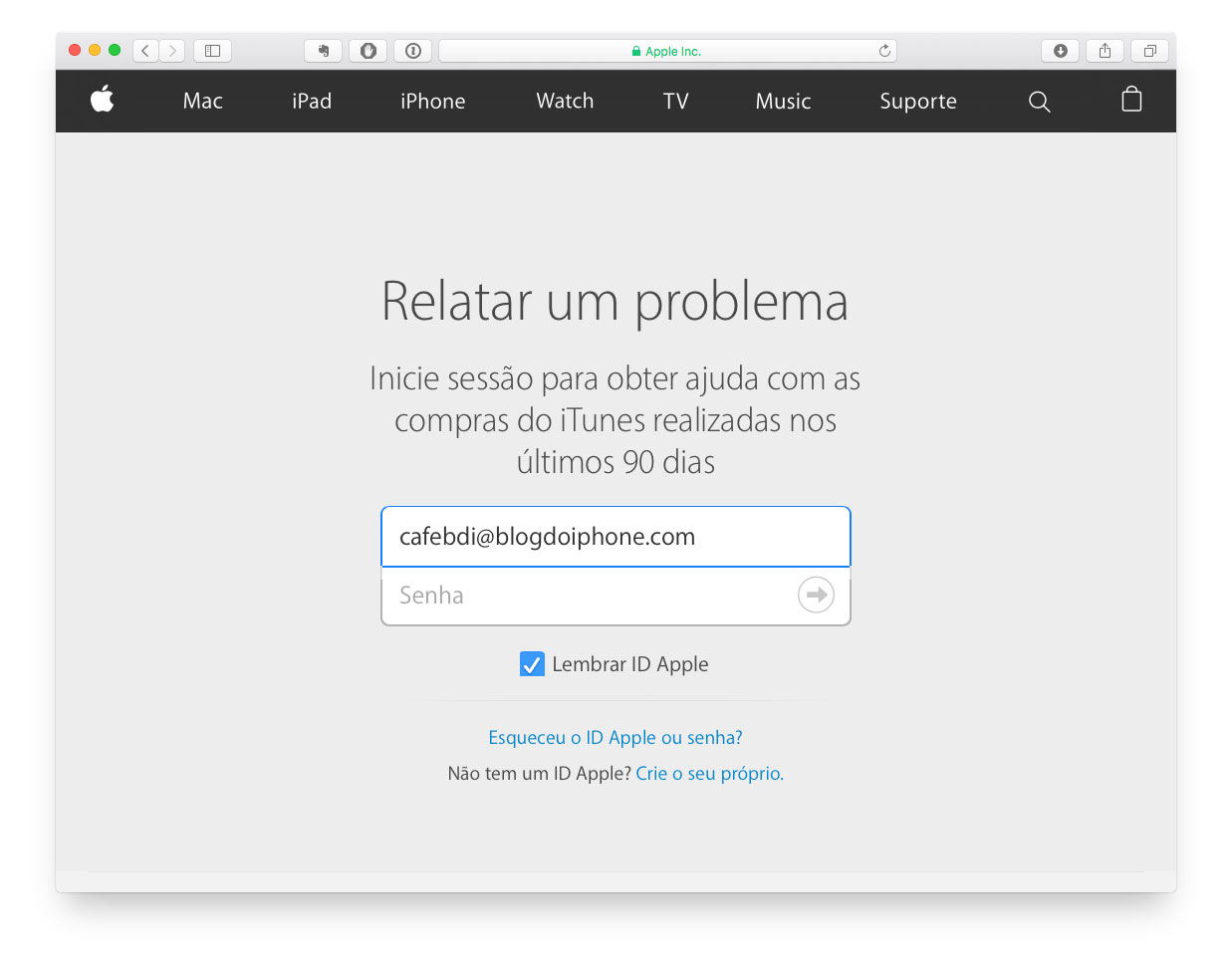 Relatar Problema Apple