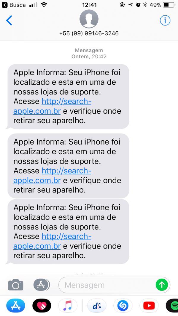 72bd6f276 Outra hora falavam que meu iPhone foi localizado e redirecionado para uma  autorizada Apple, que era pra eu clicar no link para saber qual era a loja  que eu ...
