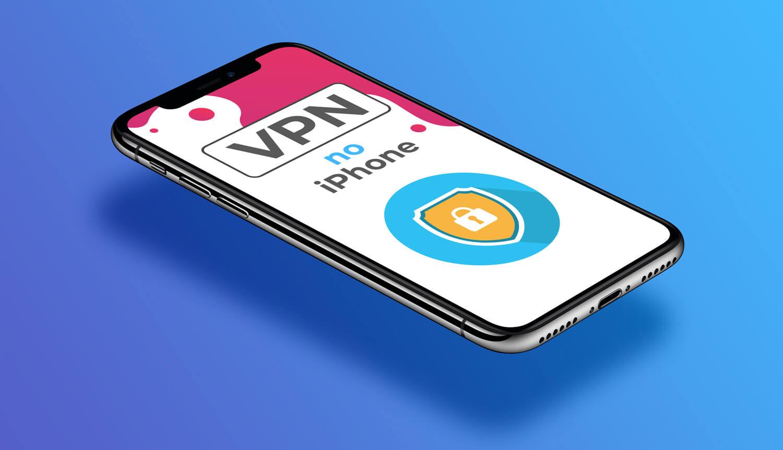 """iPhone em diagonal, com as palavras """"VPN no iPhone""""na tela"""