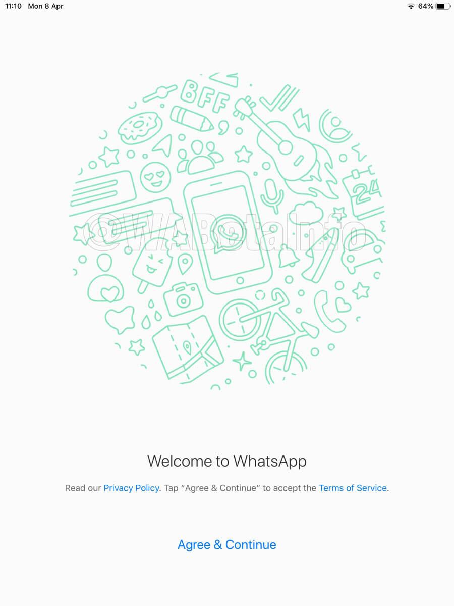 Tela de um WhatsApp para tablets