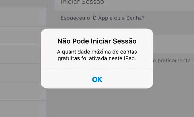Não Pode Iniciar Sessão - A quantidade máxima de contas gratuitas foi ativada neste iPad iPhone