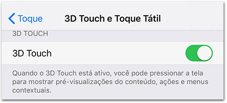 Menu 3D Touch