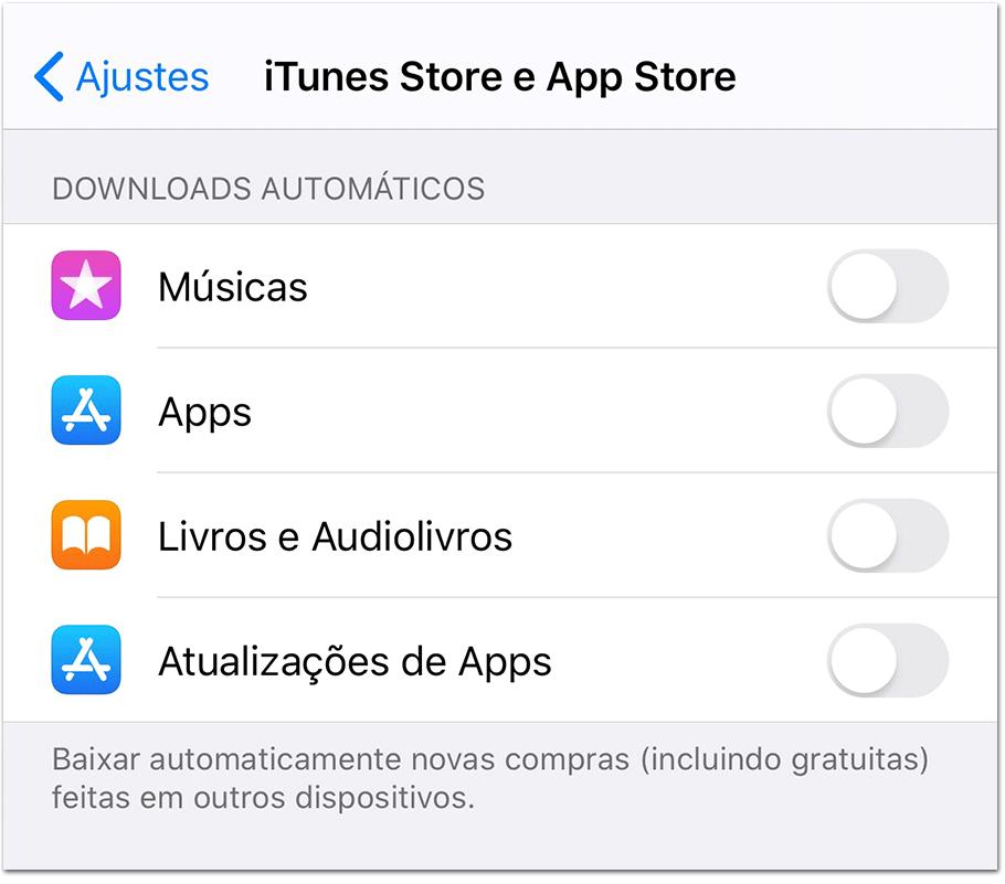 Tela Ajustes iOS
