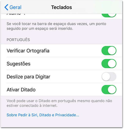 iOS 13 deslize para digitar