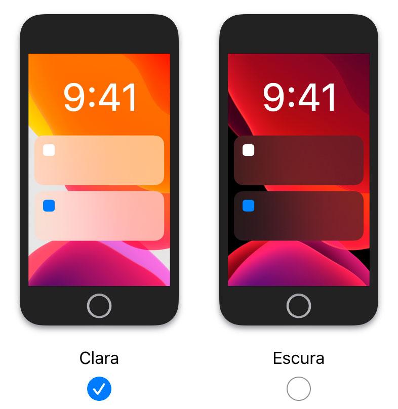 ícones do modo escuro no iPhone