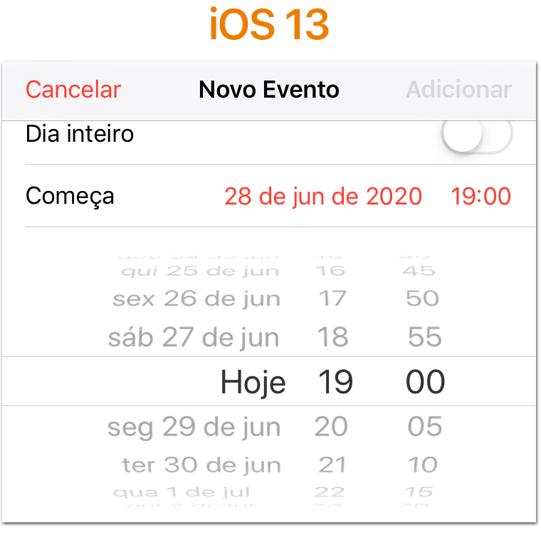iOS 13 Seletor de data