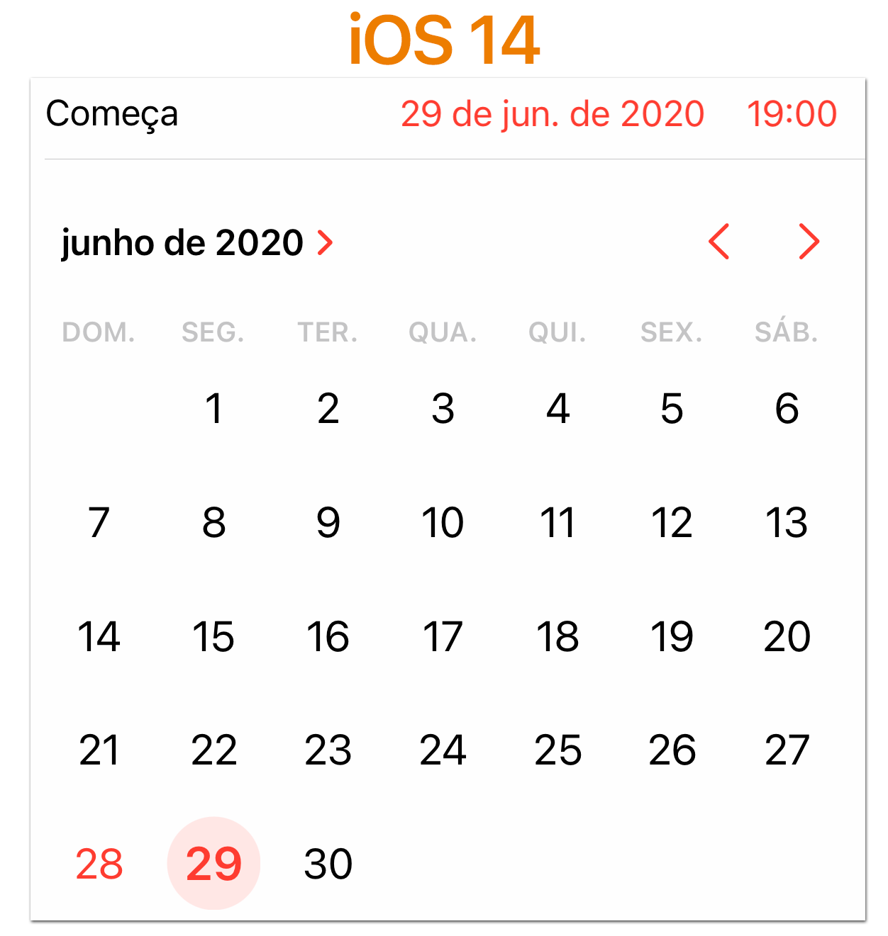 iOS 14 Seletor de data